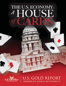 The U.S. Economy a House of Cards eBook Cover with picture of white house and playing cards scattered around it
