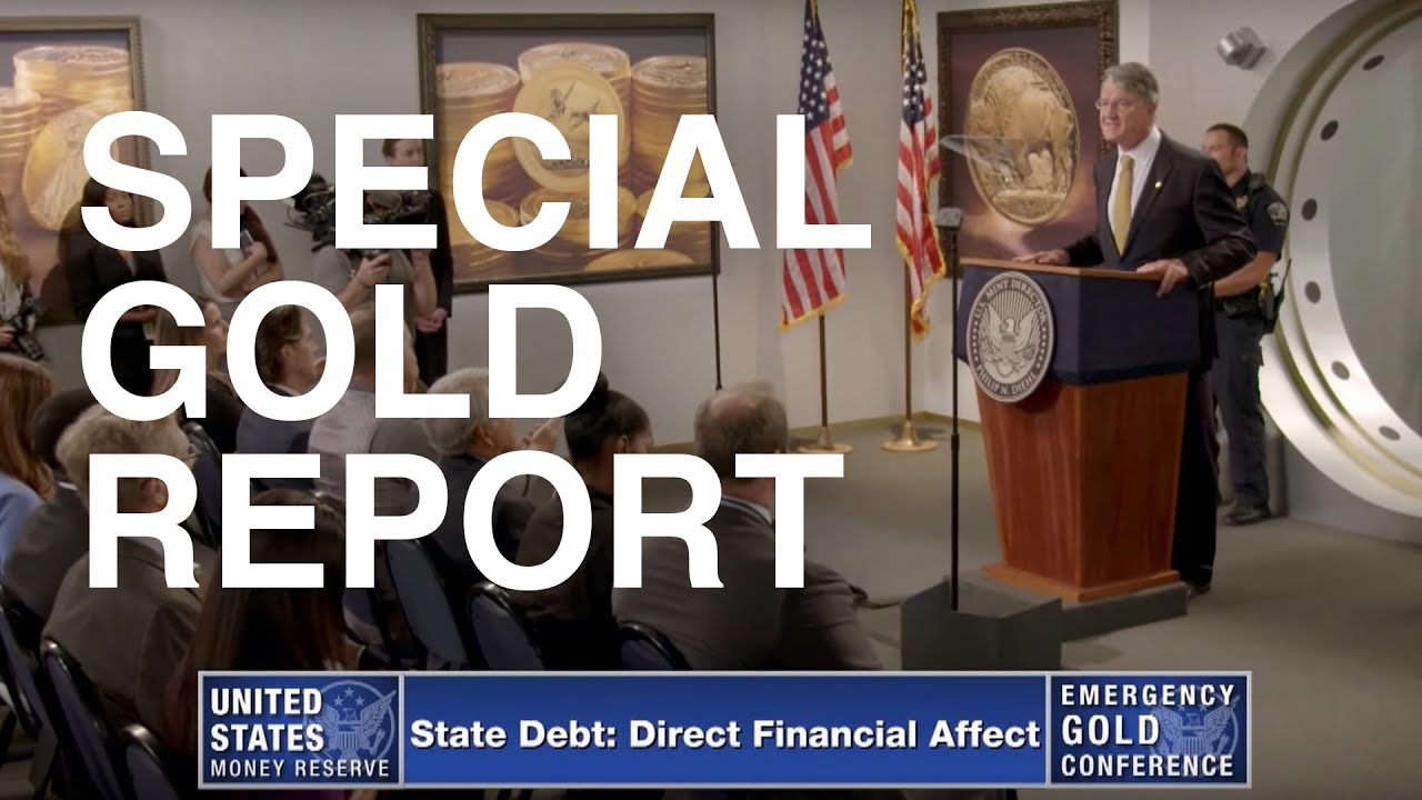 Cover photo of Emergency Gold Conference Video with speaker Philip Diehl presenting on a podium