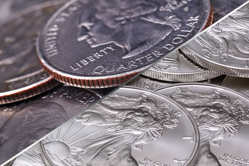 Quarters (Clad Coins) vs Silver American Eagles (Silver Coins)