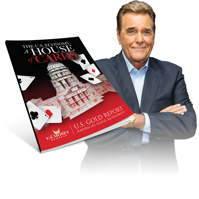 a house of cards book next to u.s. money reserve's chuck