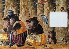 Storybook illustration of the three bears in Goldilocks fairytale
