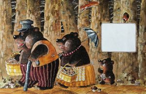 Storybook illustration of the three bears in Goldilocks fairytale