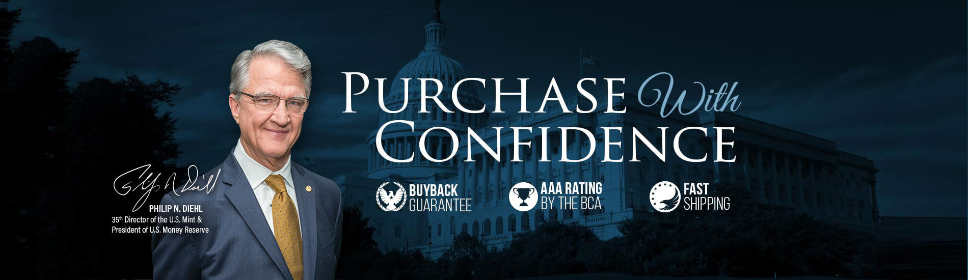 Purchase with confidence banner with image of USMR president