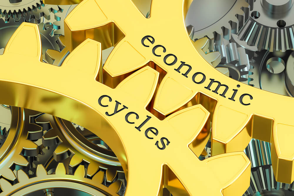 Economics cycles concept on the gearwheels, 3D rendering