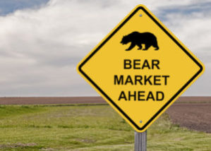 Yellow bear market ahead sign
