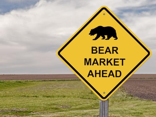 Yellow bear market ahead sign