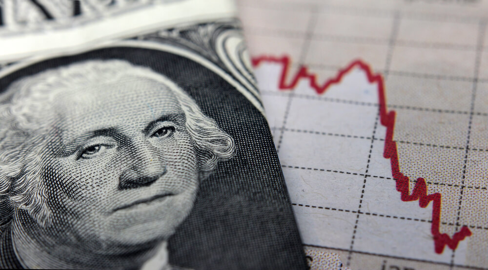 Stock market graph next to a one dollar bill with George Washington's face prominently showing