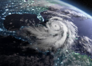 View of earth from space with storm clouds brewing over America