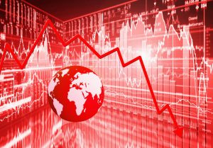 Red stock market background, globe, and plummeting arrow showing decline