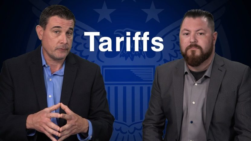 coy wells and patrick brunson presenting in front of blue u.s. seal about tariffs