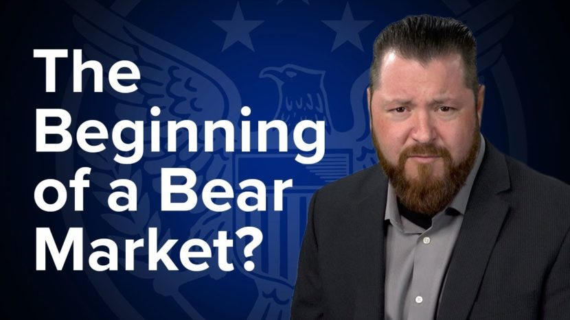 patrick brunson presenting in front of blue background about a potential beginning of a bear market