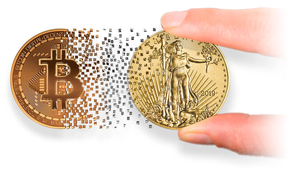 orange bitcoin fading into shiny gold coin with white background
