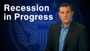 "blue image with white letters that say ""recession in progress"" presented by Coy Wells"