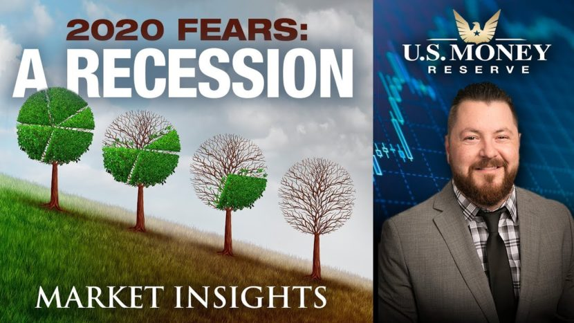 patrick brunson presenting the idea of a 2020 recession with background of tree leaves fading away