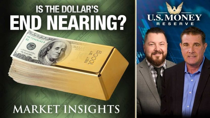 market insights presenting the dollars end by showing dollar fading away into gold brick