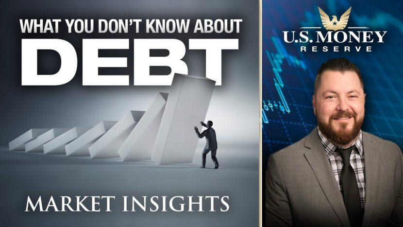 patrick brunson presenting what you dont know about debt market insights with falling dominos on top of man trying to lift them up like trying to escape debt