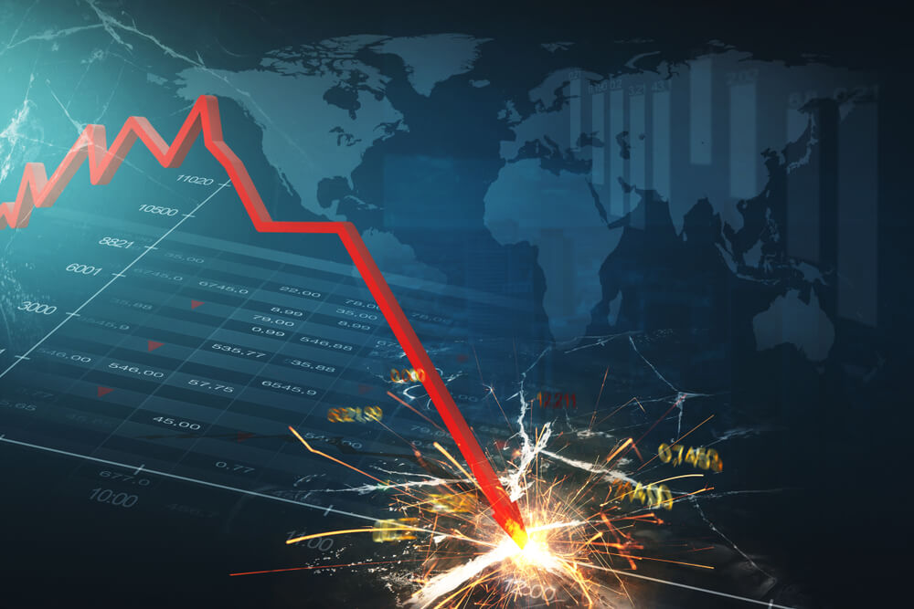 Red line crashing through market chart