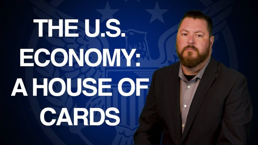 "blue background with text that says ""The U.S. Economy: A House of Cards"" presented by Patrick Brunson"