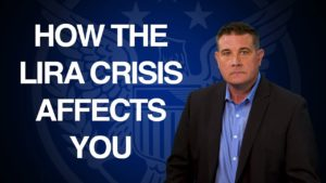 "blue background with text that says ""How the Lira Crisis Affects You"" presented by Coy Wells"