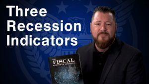 "blue background with white text that says ""three recession indicators"" next to Patrick Brunson holding an informational book"