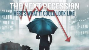 businessman holding umbrella to protect himself from the next recession as shown by red downward arrow