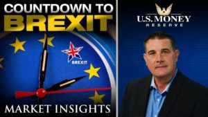 Coy Wells providing market insights during the countdown to Brexit with a background of Brexit-themed watch