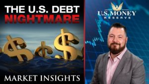 patrick brunson presenting next to sea of drowning dollar signs in an ocean of debt