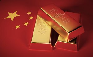 Gold Bars on Top of The Chinese Flag