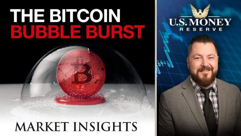 """red bitcoin inside bubble with text that says """"the bitcoin bubble burst"""" presented by U.S. Money Reserve's Patrick Brunson"""
