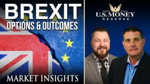 coy wells and patrick brunson presenting next to the European union and UK flag about the topic of Brexit