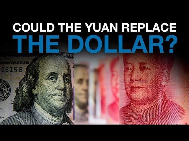 an American dollar bill next to a Chinese yuan being compared