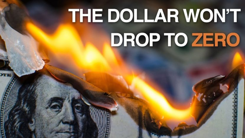 American bill getting burned that illustrates how the dollar won't drop to zero