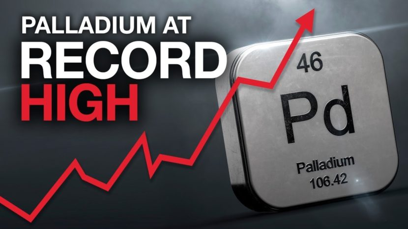 palladium element with a red arrow next to it signaling that Palladium is rising