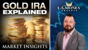 patrick brunson presenting next to stacks of gold coins representing an IRA