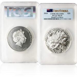 2016 5 oz Denali silver coin in plastic casing with PCGS grade MS70