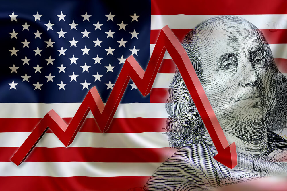 Flag of the United States of America with the face of Benjamin Franklin on US dollar 100 bill and a red arrow indicates the stock market enter recession period