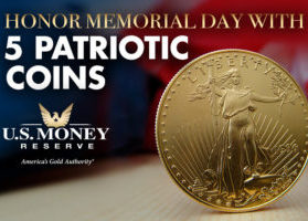 Honor Memorial Day with 5 Patriotic Coins - Gold American Eagle with U.S. Flag in Background