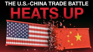 two loads of shipment or cargo crashing into each other representing china and the us not coming to an agreement