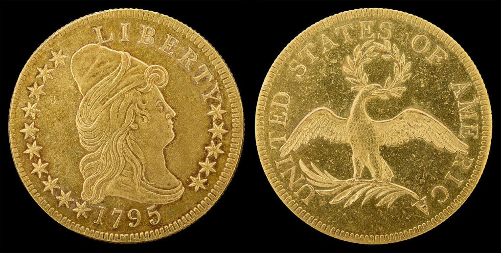 1795 Turban Head Eagle Coin by Robert Scot