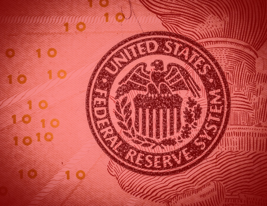United States Federal Reserve System Seal - Red Faded Currency Background