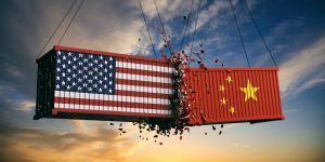 Two shipping containers representing united states and russia