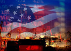 Industrial Park with an American Flag Background and Faint Charts