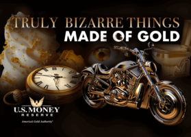 Soft serve ice cream covered in gold flakes, gold pocket watch, gold motorcycle, and gold toilet - Truly Bizarre Things Made of Gold