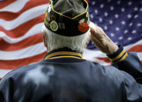 Veteran Saluting in Front of American Flag