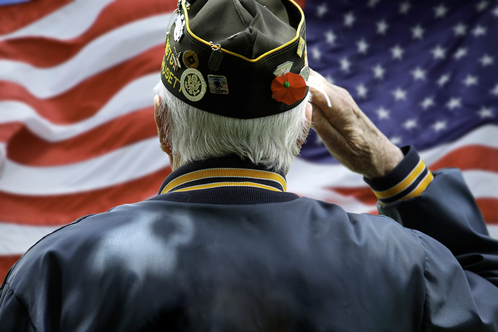 Veteran Saluting in Front of American Flag