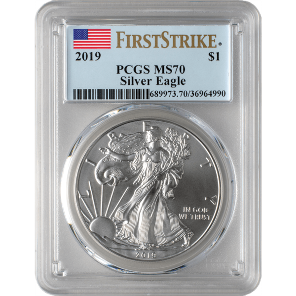 2019 MS70 Silver Eagle Coin Front