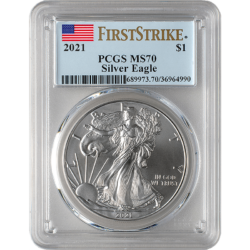 2021 1 oz. Silver American Eagle PCGS MS70 First Strike