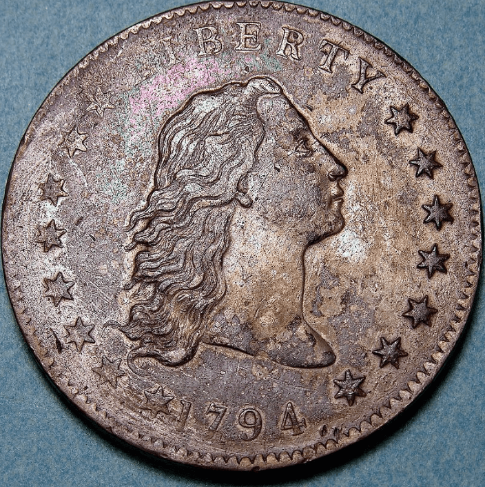Obverse illustration of a Flowing Hair dollar