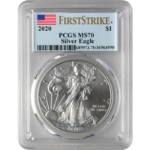 2020 MS70 Silver Eagle Coin, Front
