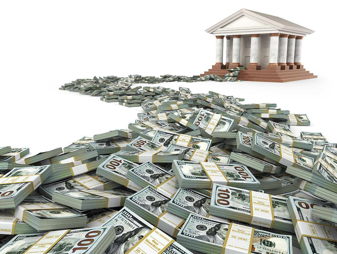 Debt Pile of Money Leading to Government Building